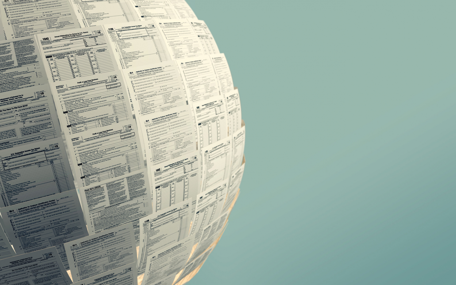 one sphere made with Usa tax forms with empty space at the right (3d render)